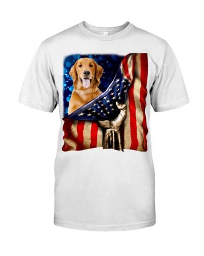 Golden Retriever American Flag-Front