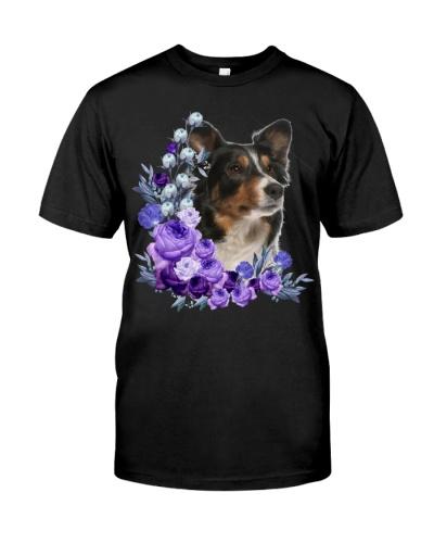 Border Collie-Purple Flower Stems