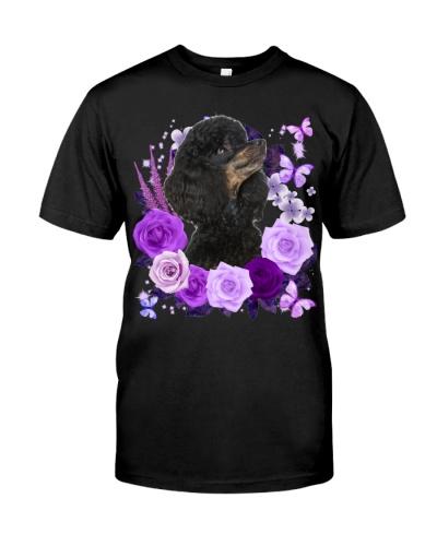 Poodle-Black-Purple Flower