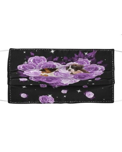 Boxer Purple Flower Heart Face