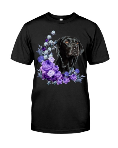 Black Labrador Retriever-Purple Flower Stems