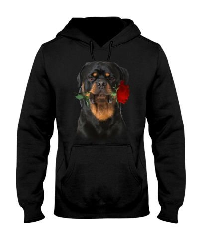 Rottweiler With Rose Branch