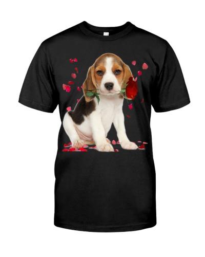 Beagle Raining Red Roses
