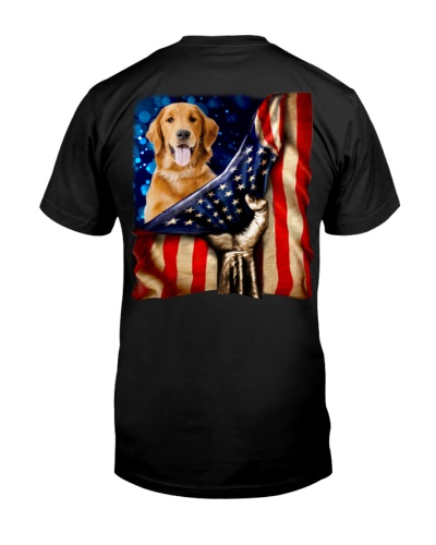 Golden Retriever American Flag