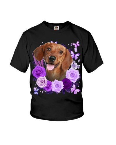 Dachshund 02 Purple Flower Face