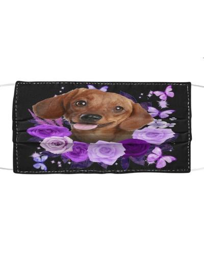 Dachshund 02 Purple Flower Face
