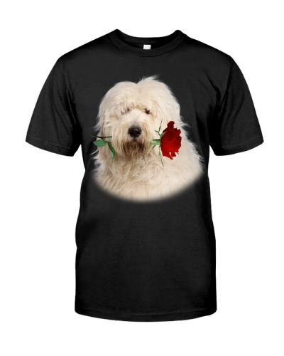 Old English Sheepdog With Rose Branch