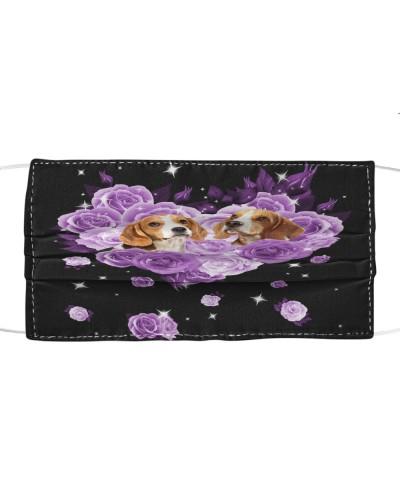 Beagle Purple Flower Heart Face