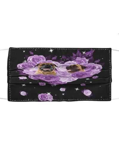 English Mastiff Purple Flower Heart Face