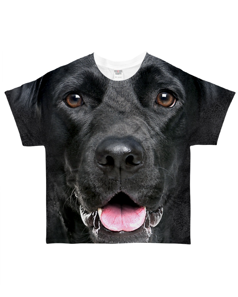 Black Labrador-Face and Hair All-over T-Shirt