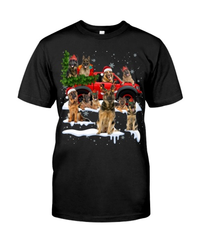 German Shepherd-Christmas Car