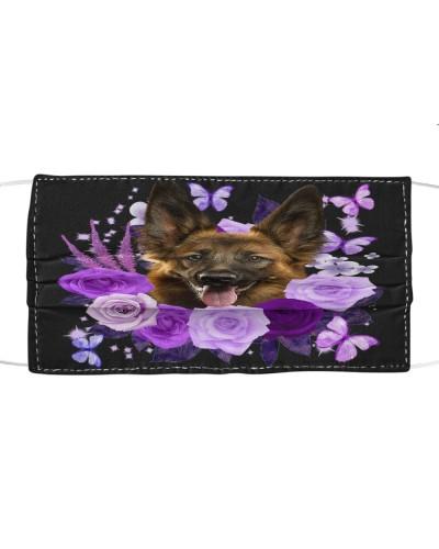 German Shepherd Purple Flower Face