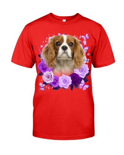 Cavalier King Charles Spaniel-Purple Flower