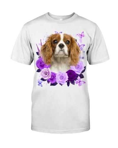 Cavalier King Charles Spaniel-Purple Flower