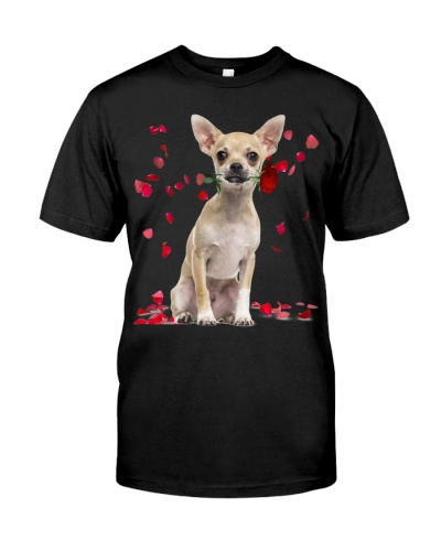 Chihuahua Raining Red Roses