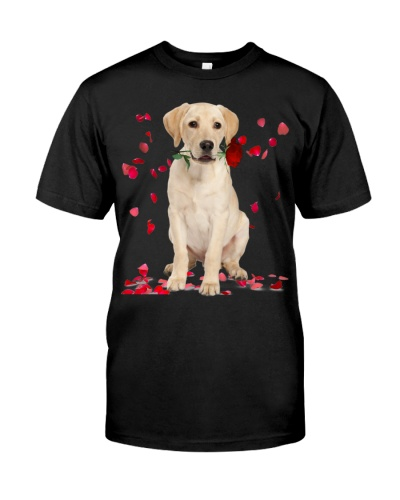 Labrador Retriever Raining Red Roses