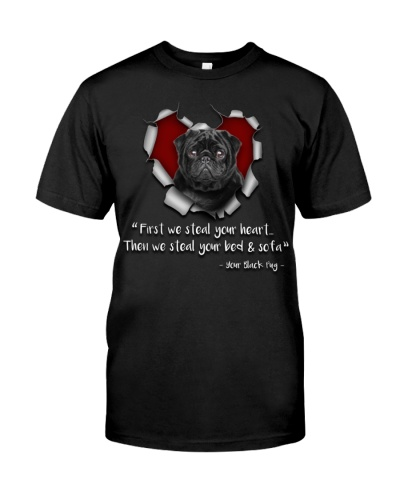 Black Pug-Torn Paper Heart