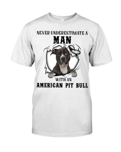 Man With An American Pit Bull Terrier