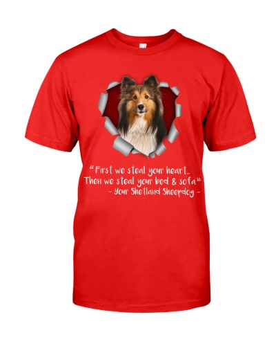 Shetland Sheepdog-Torn Paper Heart