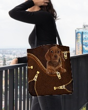 Dachshund Zip LT All-over Tote aos-all-over-tote-lifestyle-front-05