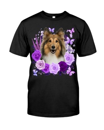 Shetland Sheepdog-Purple Flower