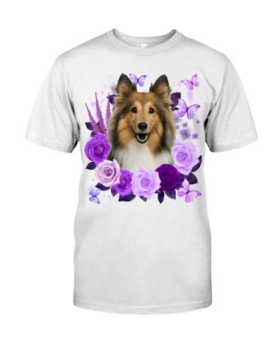 Shetland Sheepdog-Purple Flower