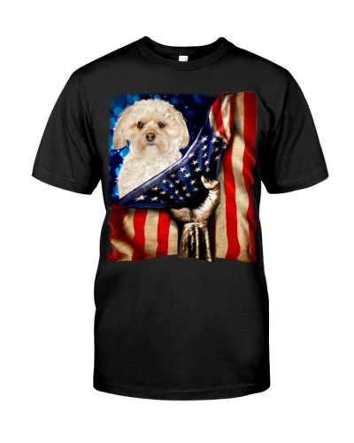 Morkie American Flag-Front