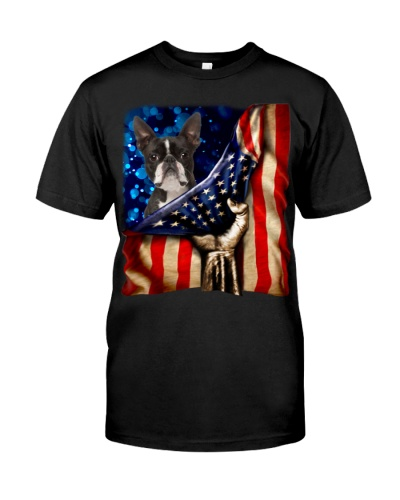 Boston Terrier American Flag-Front