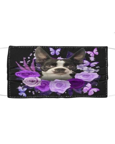 Boston Terrier Purple Flower Face