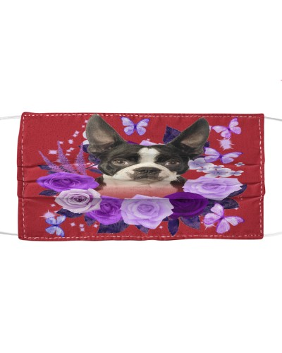 Boston Terrier Purple Flower Face