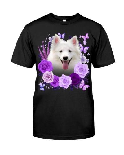 American Eskimo-Purple Flower