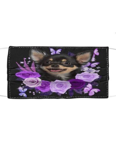 Chihuahua Purple Flower Face