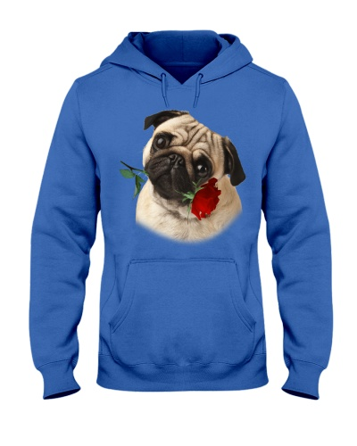 Pug With Rose Branch