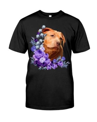 American Pit Bull Terrier-Purple Flower Stems