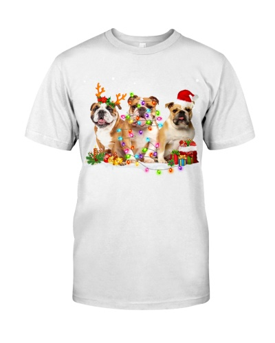 English Bulldog-Snow-Christmas