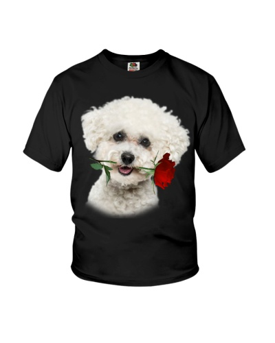 Bichon Frise With Rose Branch