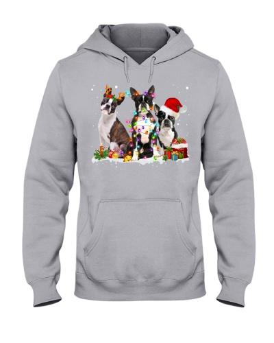Boston Terrier-Snow-Christmas