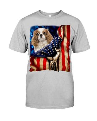 Cavalier King Charles Spaniel American Flag-Front