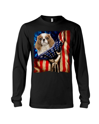 Cavalier King Charles Spaniel American Flag-Front