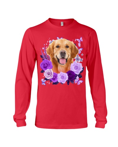 Golden Retriever Purple Flower Face