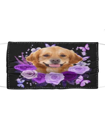 Golden Retriever Purple Flower Face