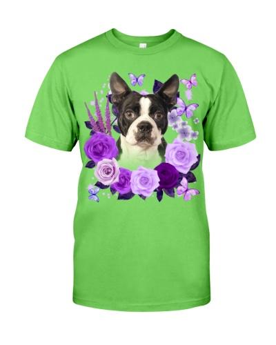 Boston Terrier-Purple Flower