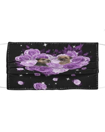 Border Terrier Purple Flower Heart Face