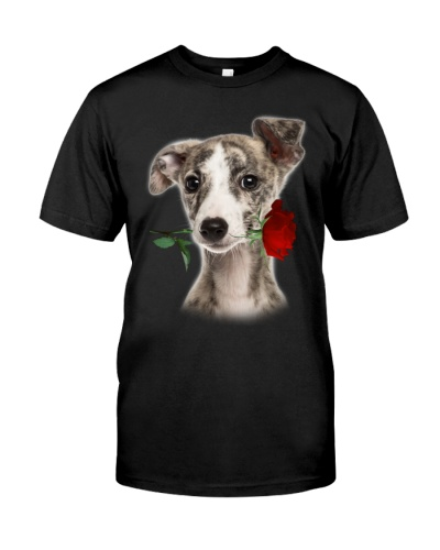 Whippet With Rose Branch