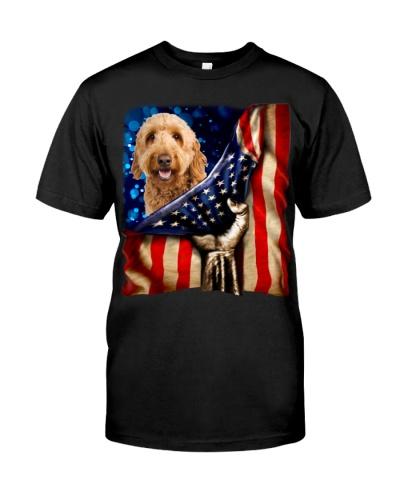 Goldendoodle American Flag-Front