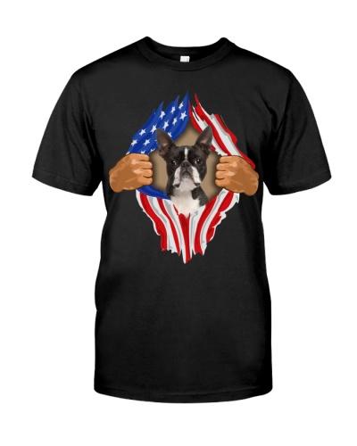 Boston Terrier2-Torn-Flag USA