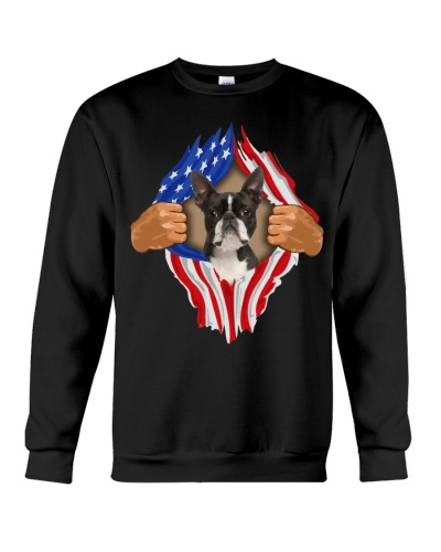 Boston Terrier2-Torn-Flag USA
