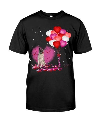 Norwegian Elkhound Rose and Heart Balloon