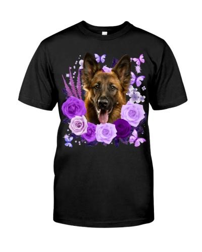 German Shepherd-Purple Flower