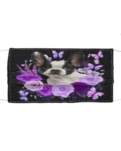 French Bulldog 03 Purple Flower Face